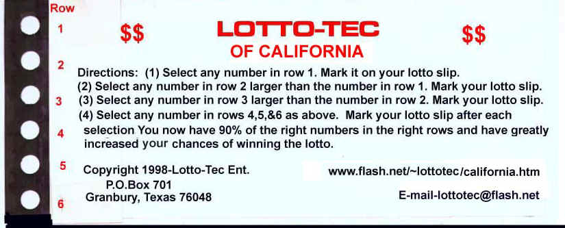 Win the California lottery with the  Lotto-Tec system