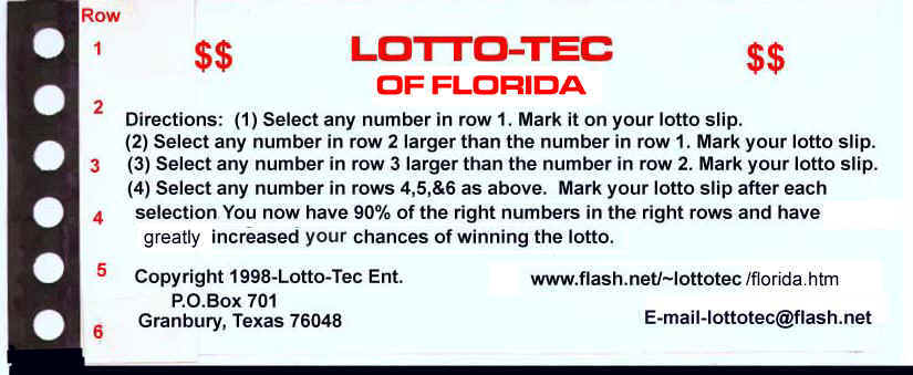 Win the Florida lotto with the Lotto-Tec system.
