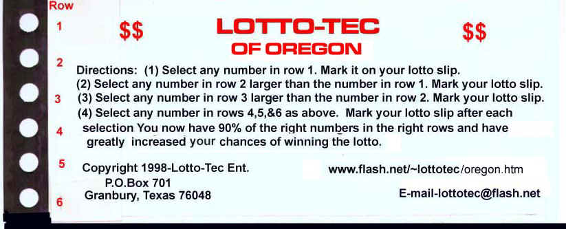 Win the Oregon Lottery with the Oregon Lotto-Tec system)